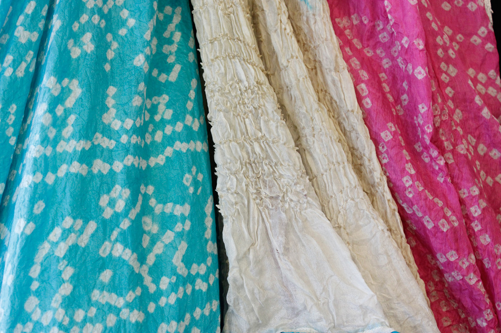 silk bandhini - in this process, fabric is tied and dyed, resulting in beautiful patterns.